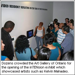 Dozens crowded the Art Gallery of Ontario for the opening of the inTENsion exhibit which showcased artists such as Kelvin Mahadeo